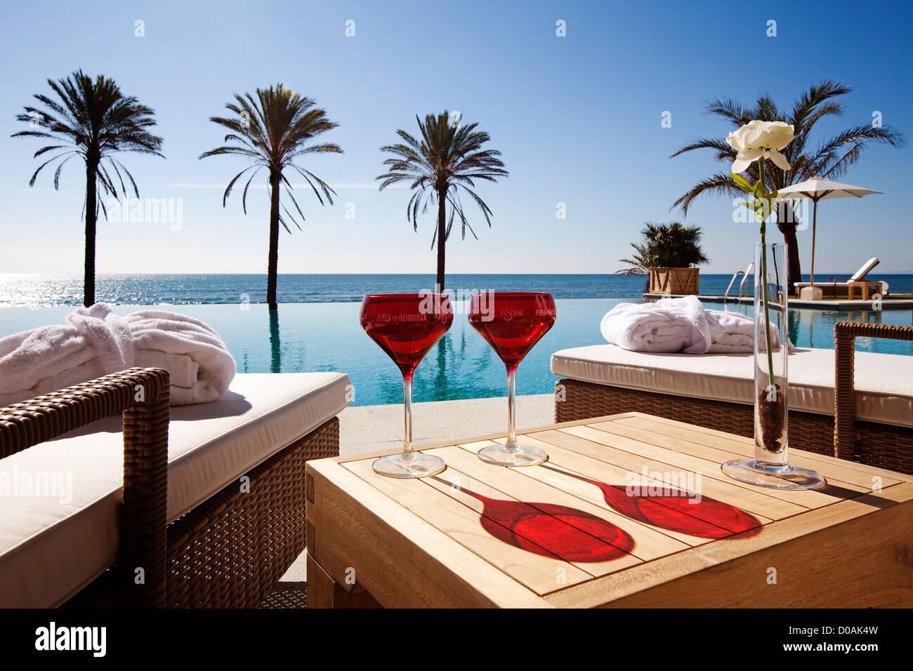 Beach Club hotel Vincci Estrella del Mar Marbella Malaga Andalusia Spain - Stock Image