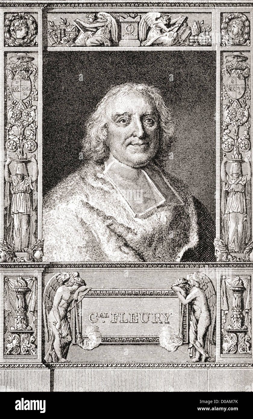 André-Hercule de Fleury, Bishop of Fréjus, 1653 –1743. French cardinal and chief minister of Louis XV. - Stock Image