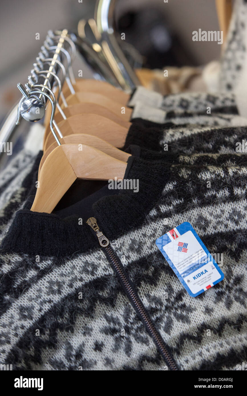7e72026b126 ICELANDIC PULLOVER KIDKA THE WOOL FACTORY SHOP HVAMMSTANGI NORTHERN ICELAND  EUROPE - Stock Image