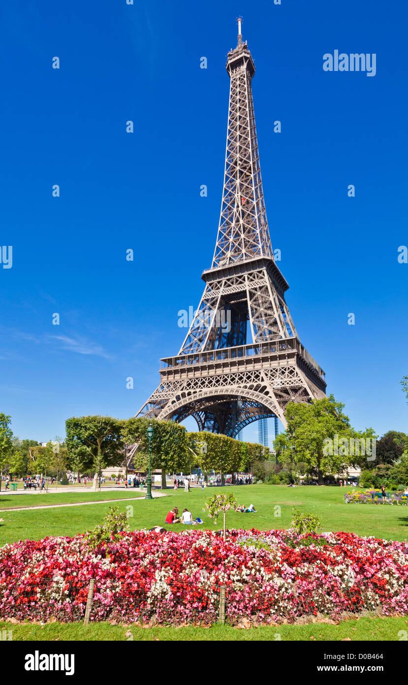 Eiffel tower against a clear blue sky Paris France EU Europe - Stock Image