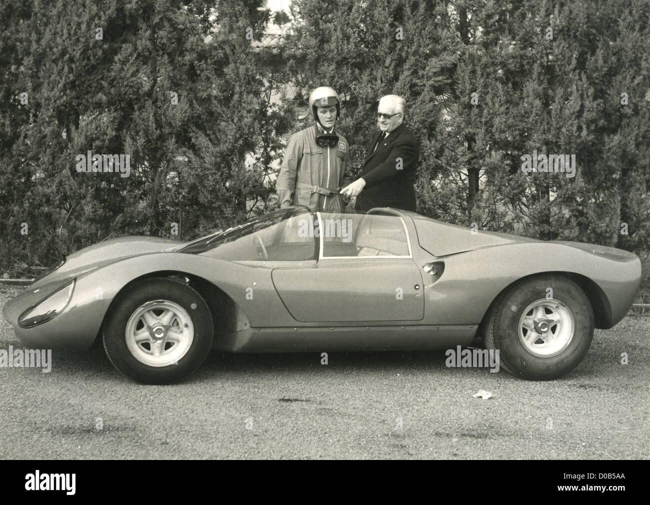 PAT BOONE  US singer and film actor with Enzo Ferrari about 1965 - Stock Image