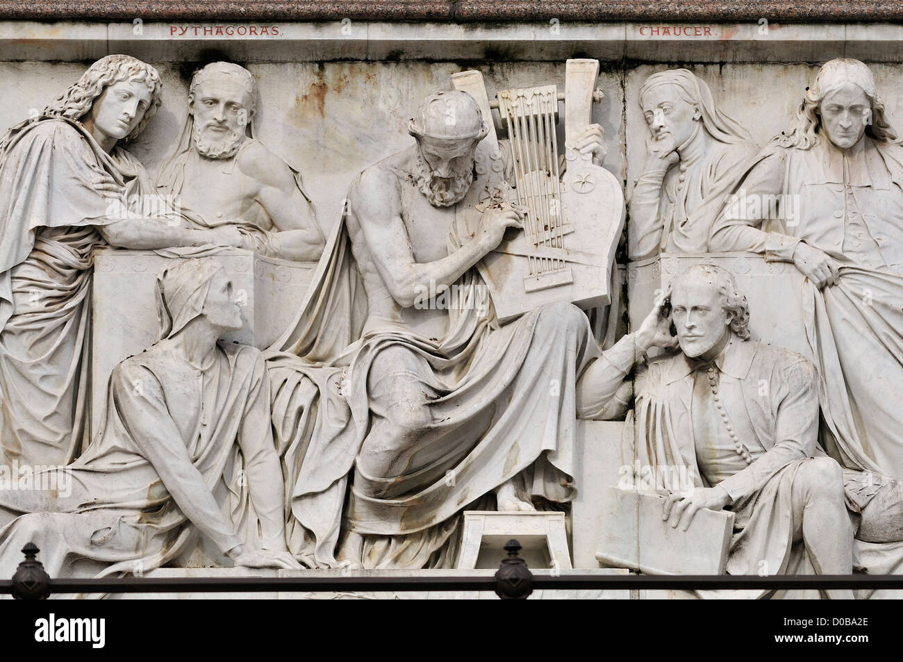 London, England, UK. Albert Memorial in Kensington Gardens. Frieze of Parnassus. Great writers - Stock Image