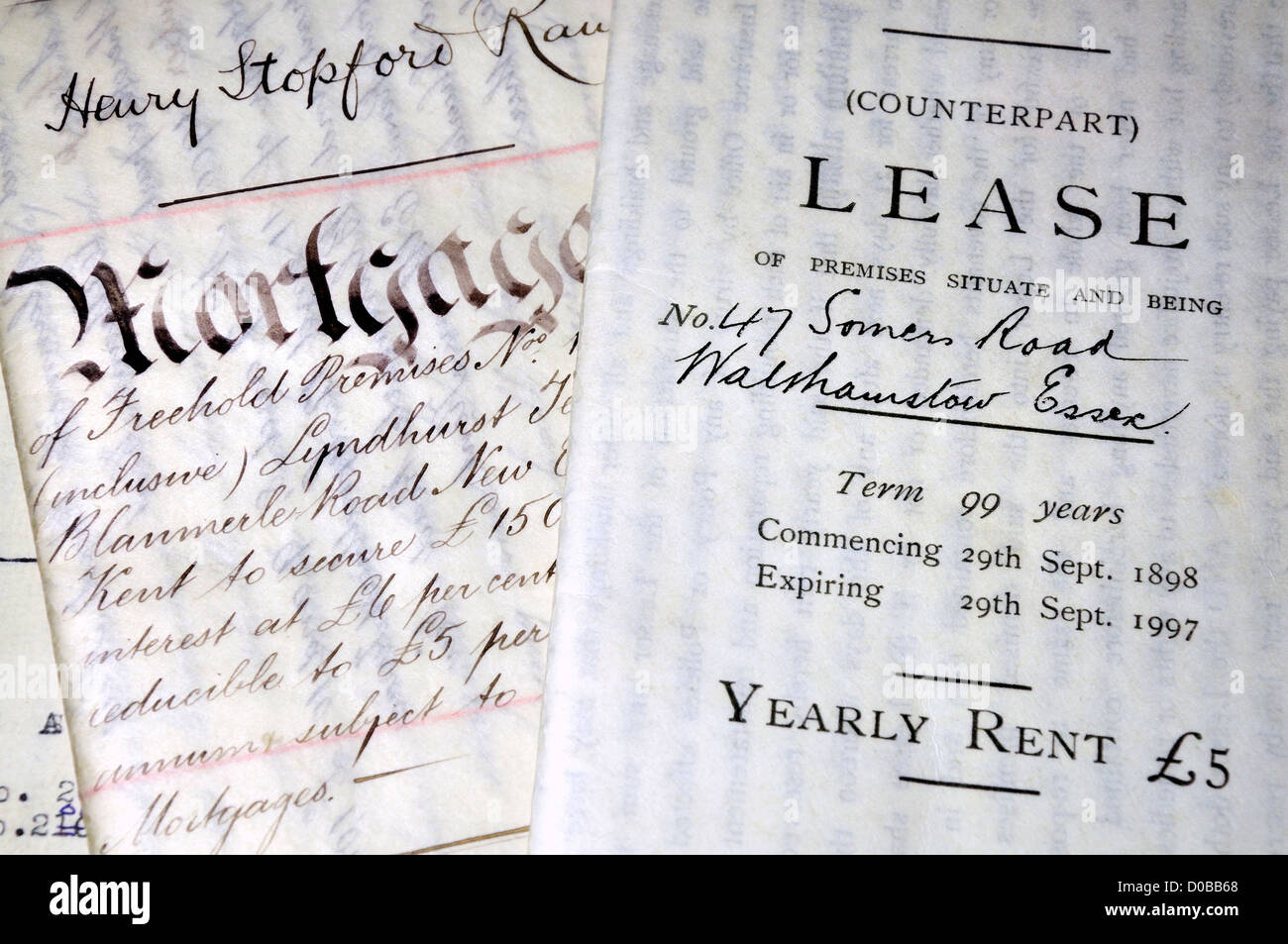 99 year lease (1898) and Hand-written Mortgage (1900) documents on Vellum - Stock Image