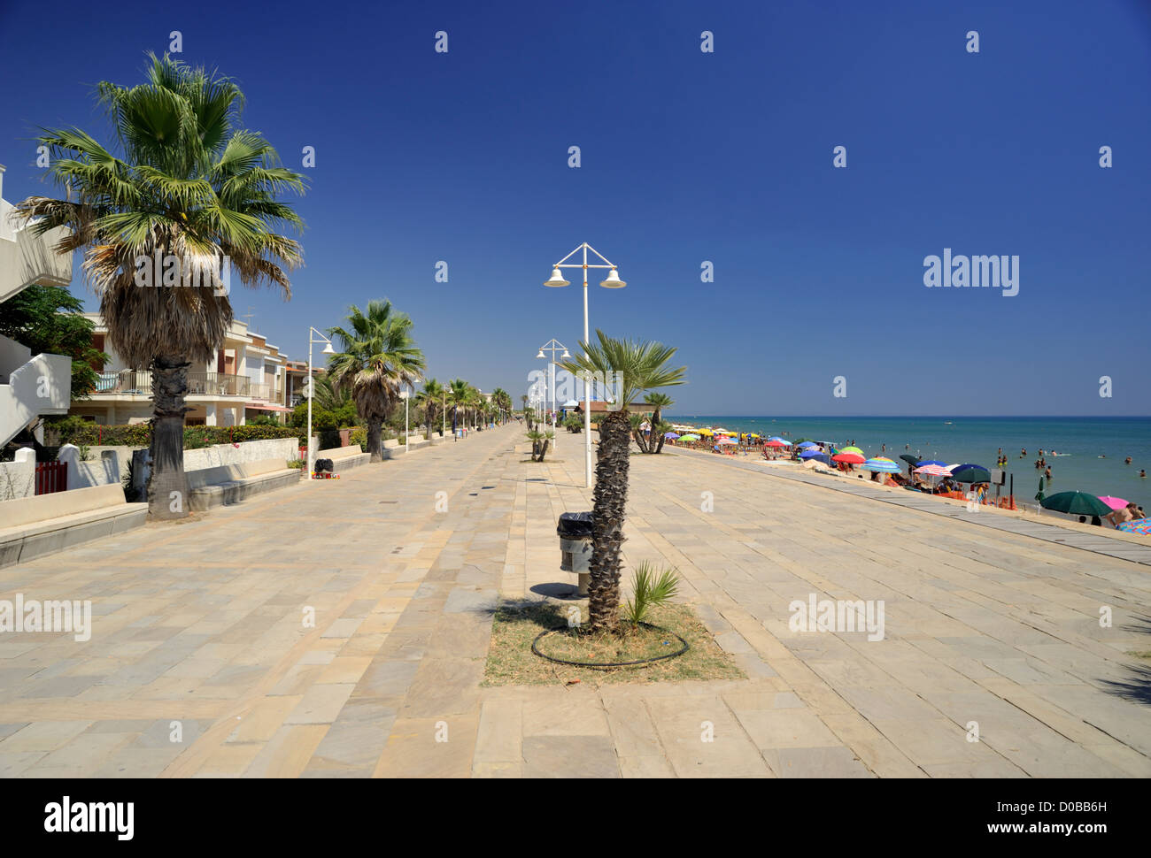 italy, basilicata, metaponto, promenade and beach - Stock Image