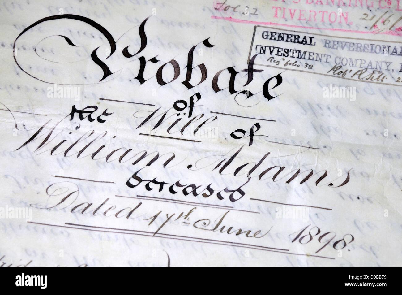 Handwritten Probate of the Will of William Adams from 1898, written on vellum - Stock Image