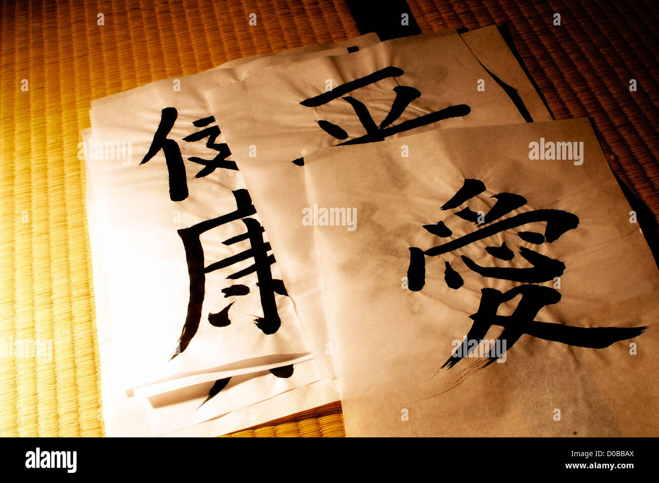 Japanese words, written in artistic calligraphy on a Tatami