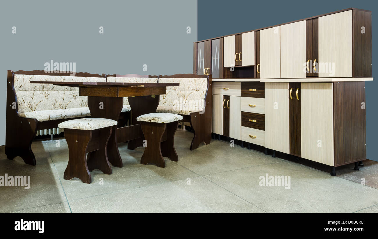 Modern kitchen furniture with wooden cupboards - Stock Image