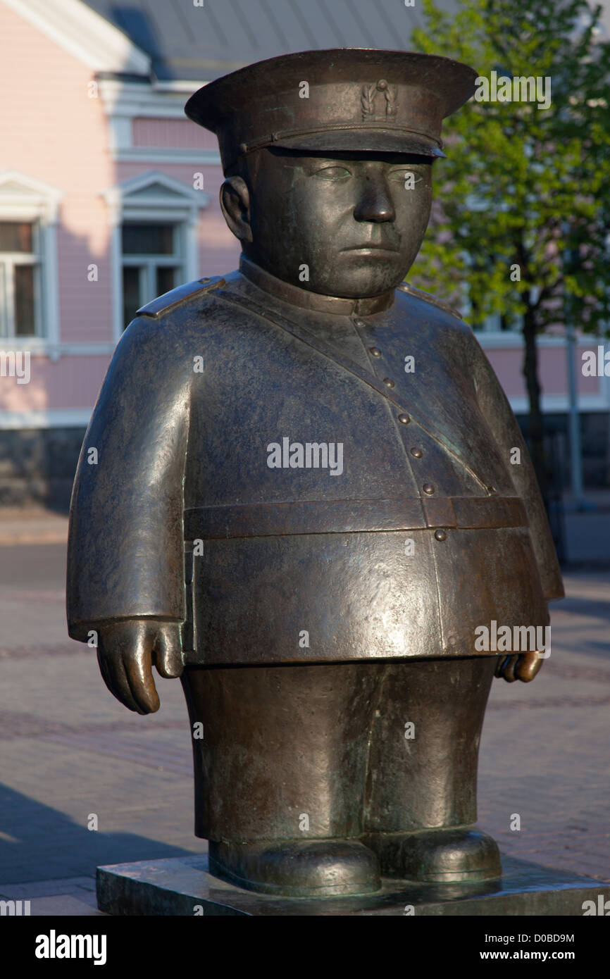 Finland, Oulu, statue of 'The Policeman'. - Stock Image