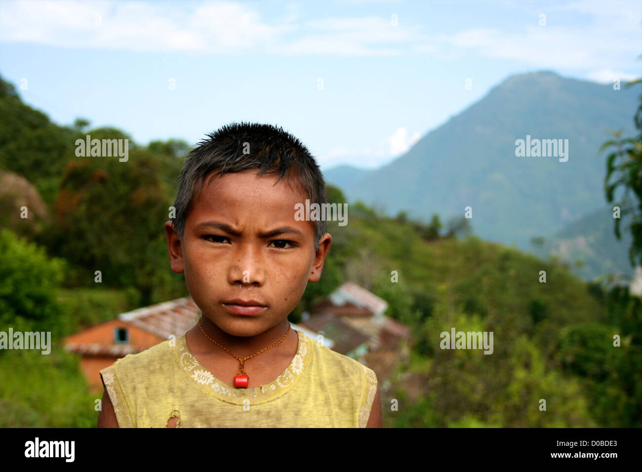 Nepali boy in remote village in Helambu region, Nepal - Stock Image