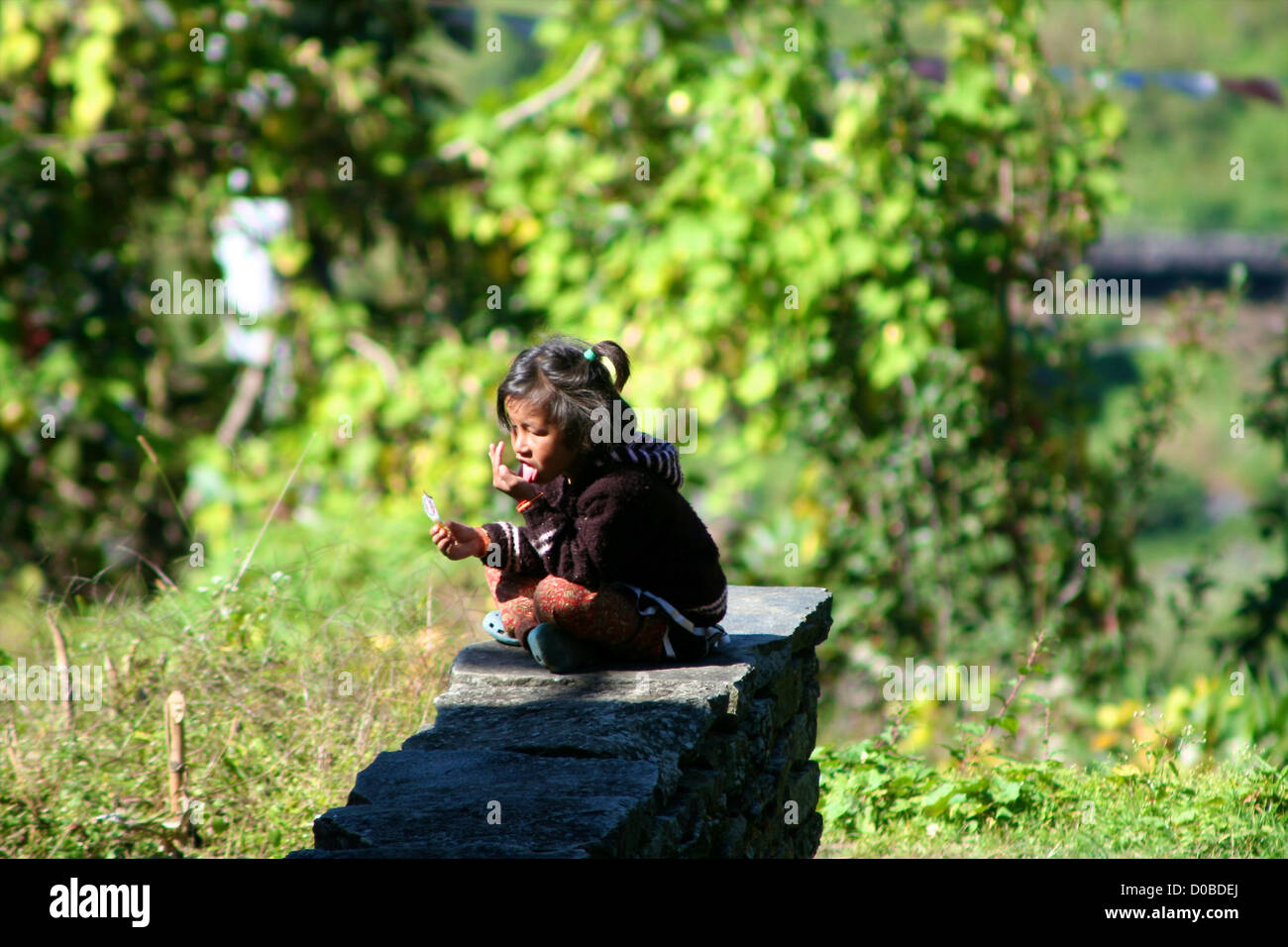 Nepali child in remote village in Helambu region, Nepal - Stock Image