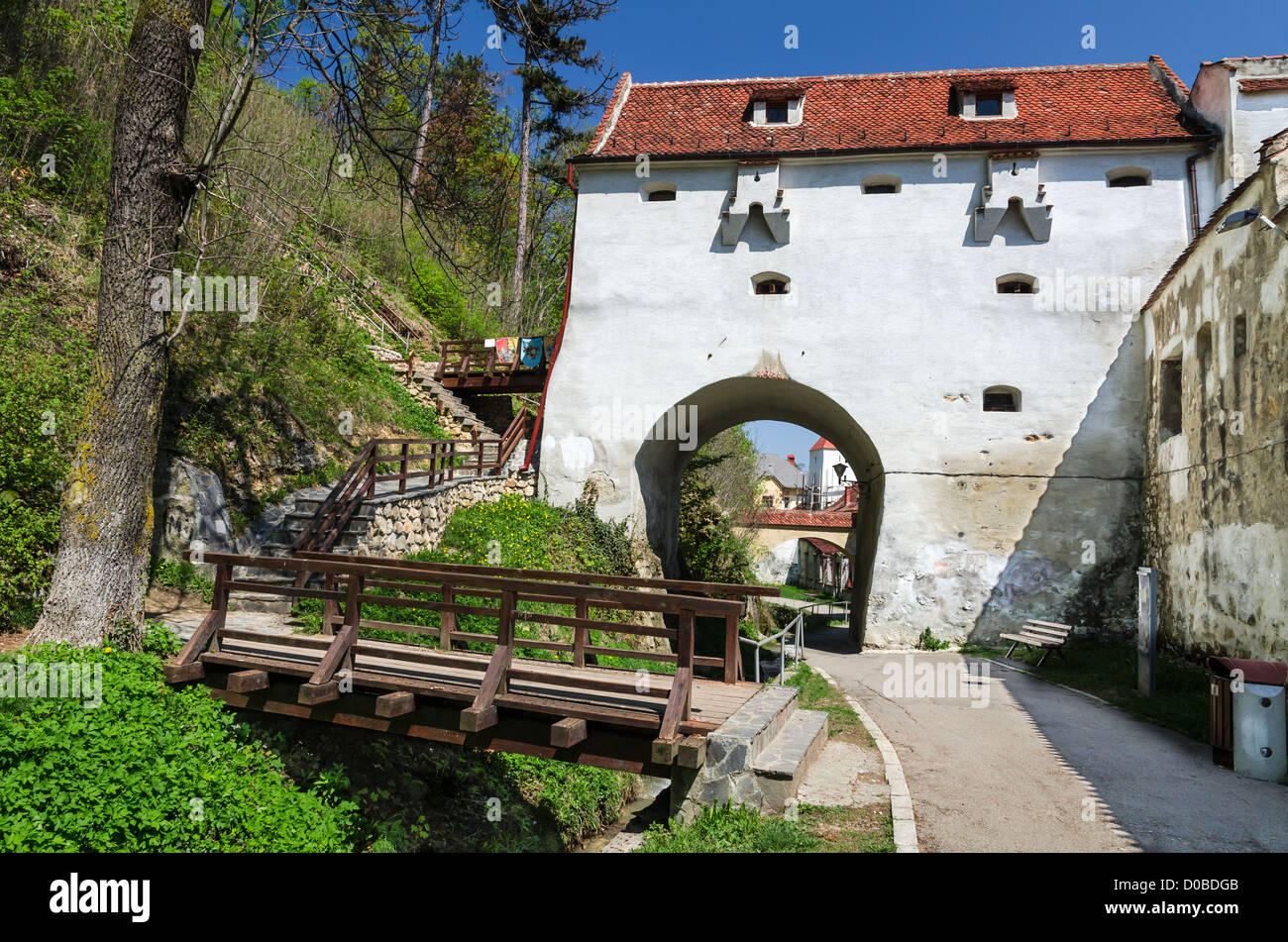 Graft Bastion was erected in 1515-1521, over the same name water channel, on Brasov medieval fortress, Romania. - Stock Image