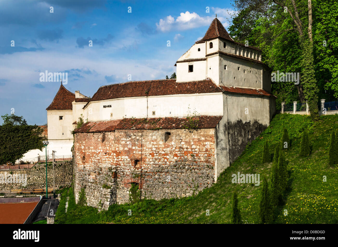 Weavers bastion was built between 1421-1436, for Brasov fortress, in hexagon shape military architecture. - Stock Image