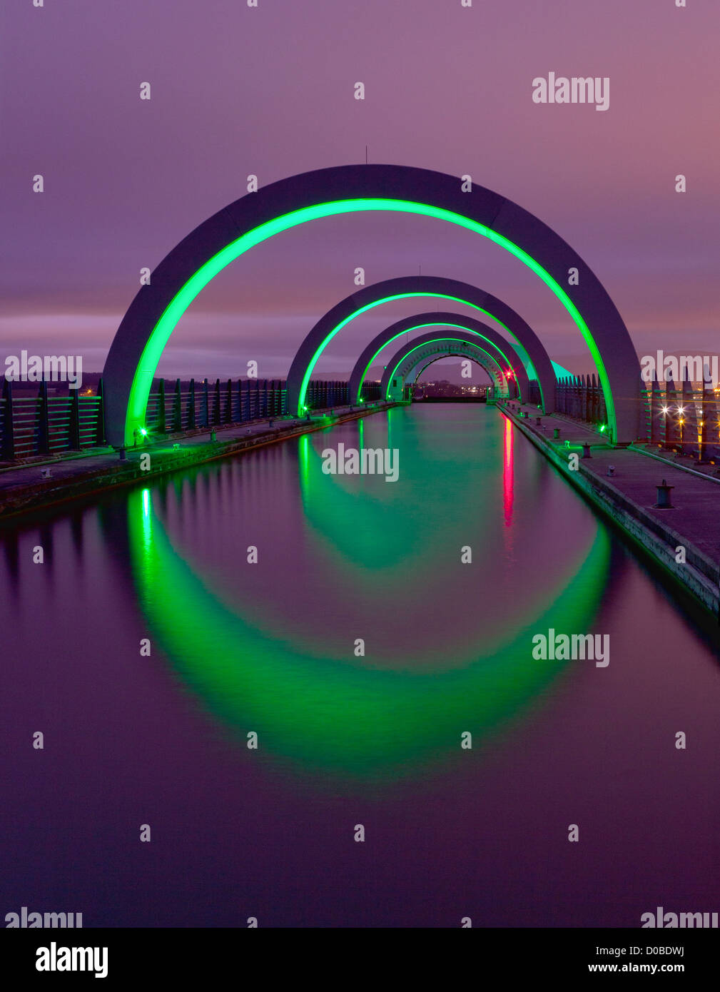 Falkirk Wheel upper canal at night - Stock Image