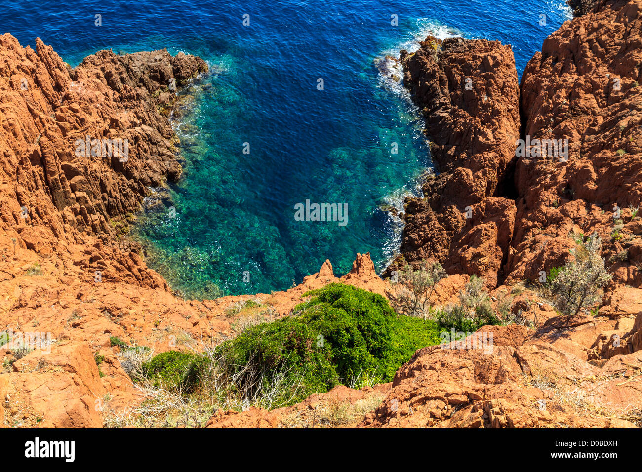 Beautiful Scenic Coastline on the French Riviera near Cannes, France - Stock Image