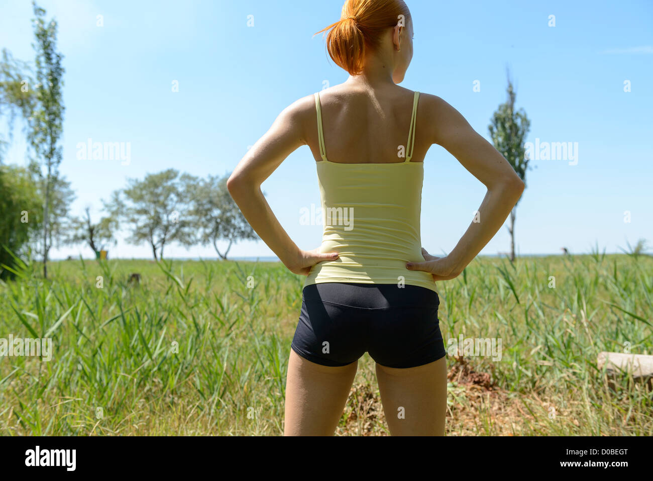 fitness sexy back bum ass woman young slim sea stock photo: 51884024
