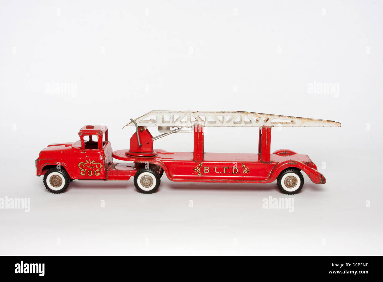 Vintage Toy Metal Red Fire Engine Hook And Ladder Truck   Stock Image