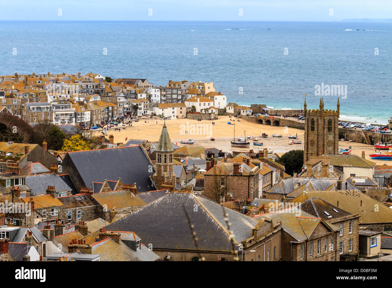 Seaside Village of St. Ives, Cornwall, UK. Roof top view of the harbor Stock Photo