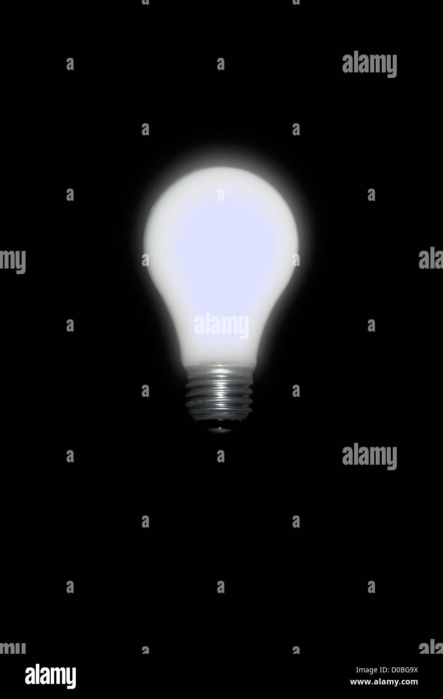 A brightly glowing lightbulb not plugged in on a black background - Stock Image