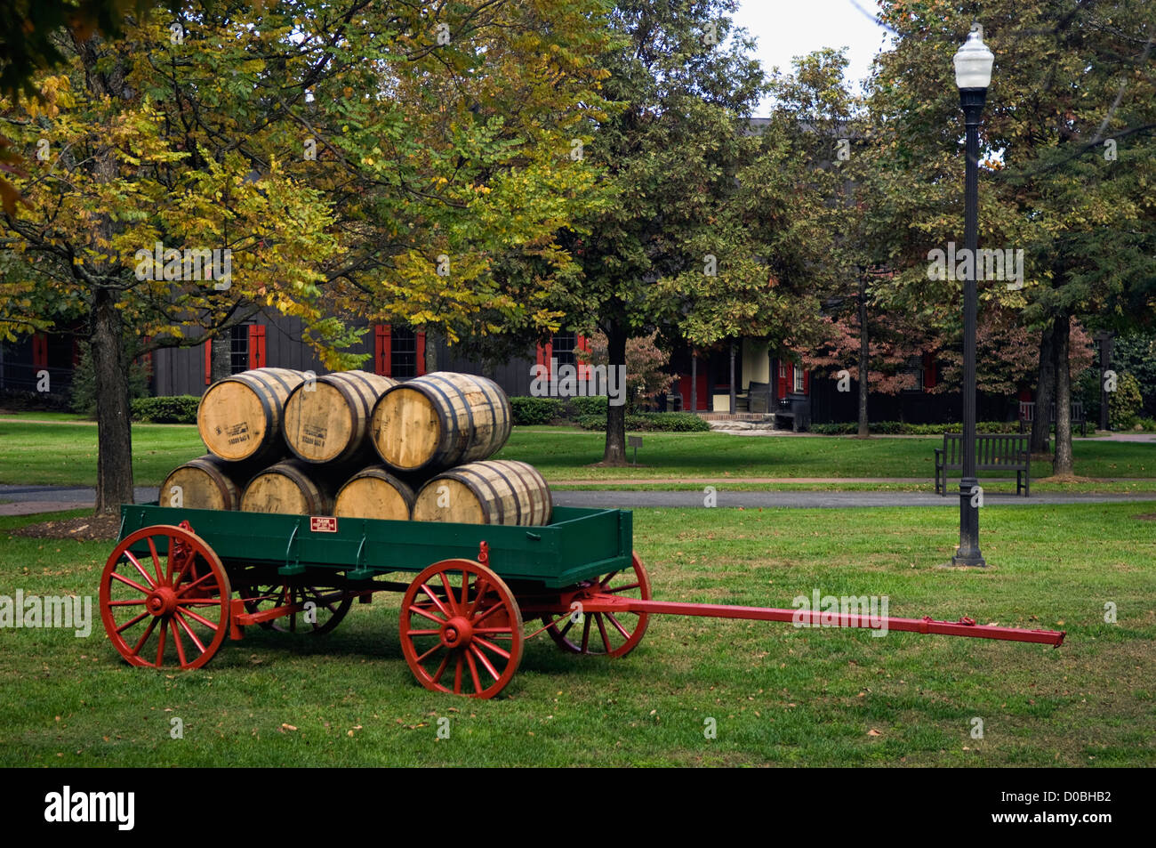 Wagon with Bourbon Barrels at Maker's Mark Distillery in Loretto, Kentucky - Stock Image
