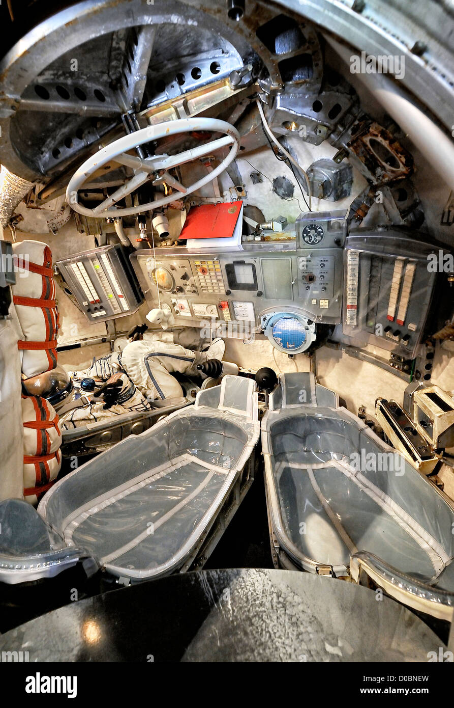 Inside Soyuz spacecraft. - Stock Image