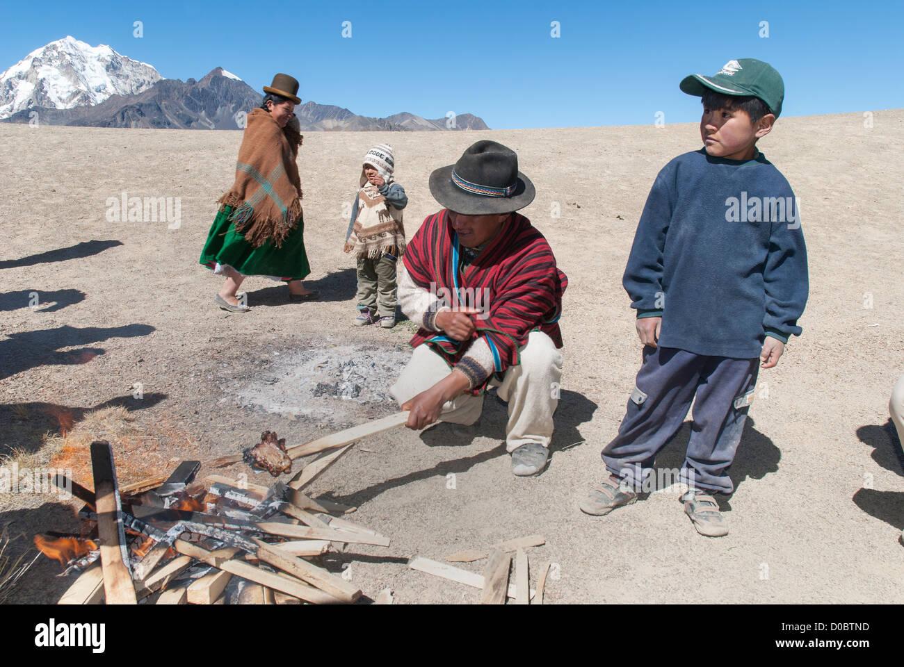 Barbecue in the Cordillera Real - Stock Image