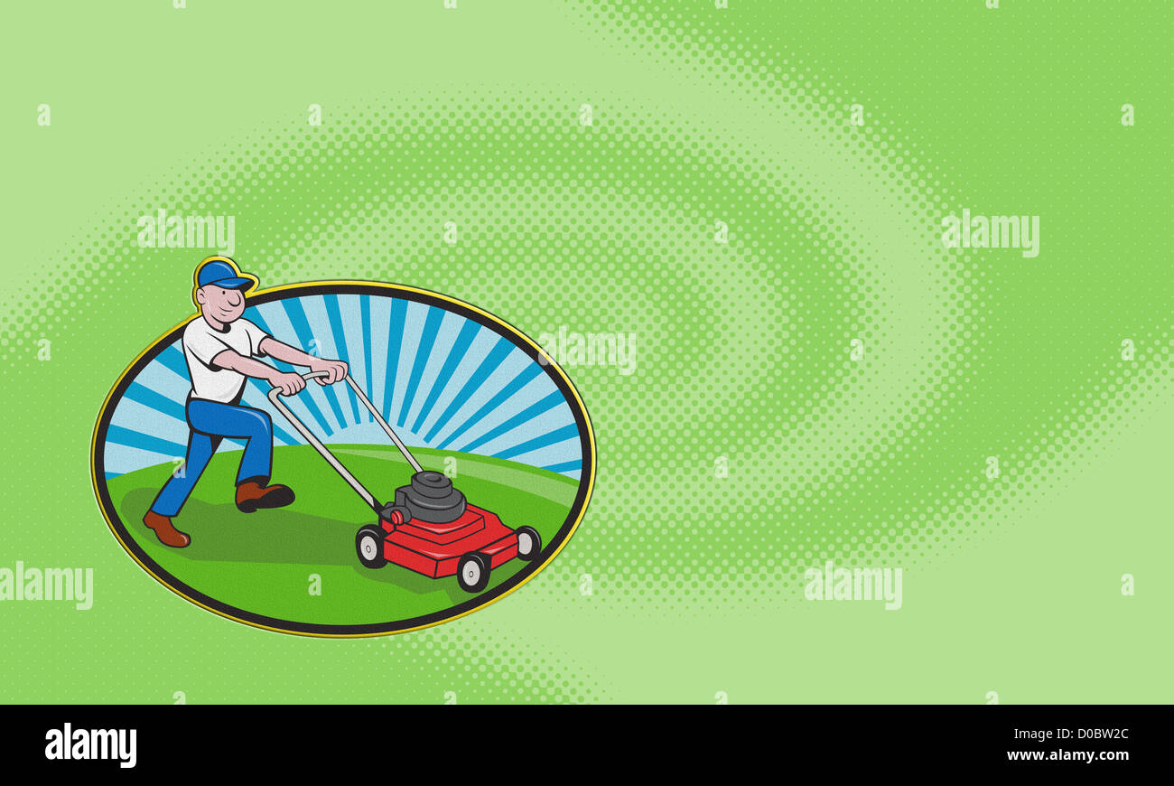 Business card ideal for lawn mowing services showing illustration of business card ideal for lawn mowing services showing illustration of a gardener landscaper mowing lawn with mower done in cartoo colourmoves