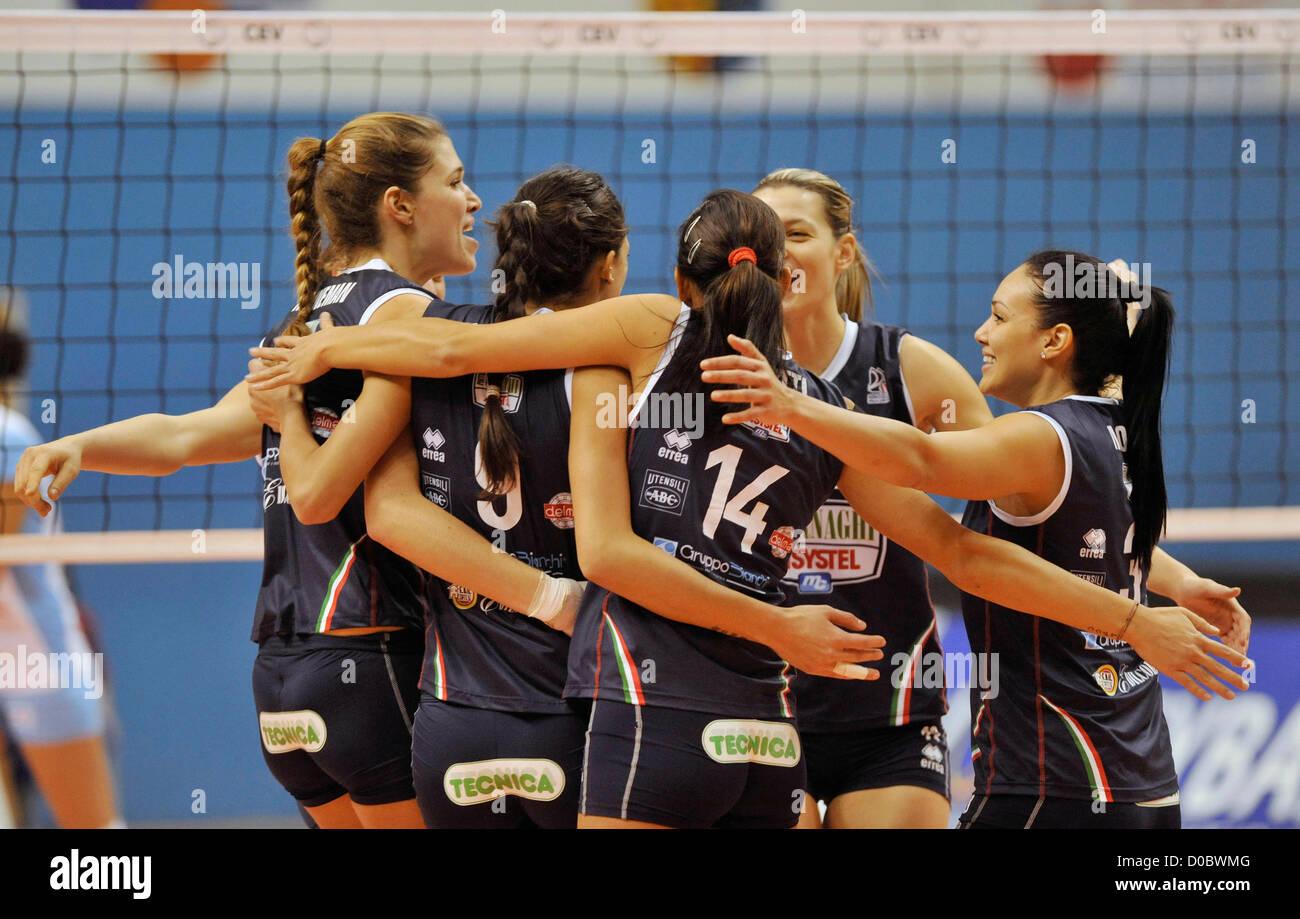 Champions League, volleyball, 4th round, VK Agel Prostejov - Asystel Carnaghi Villa Cortese in Prostejov, Czech Stock Photo