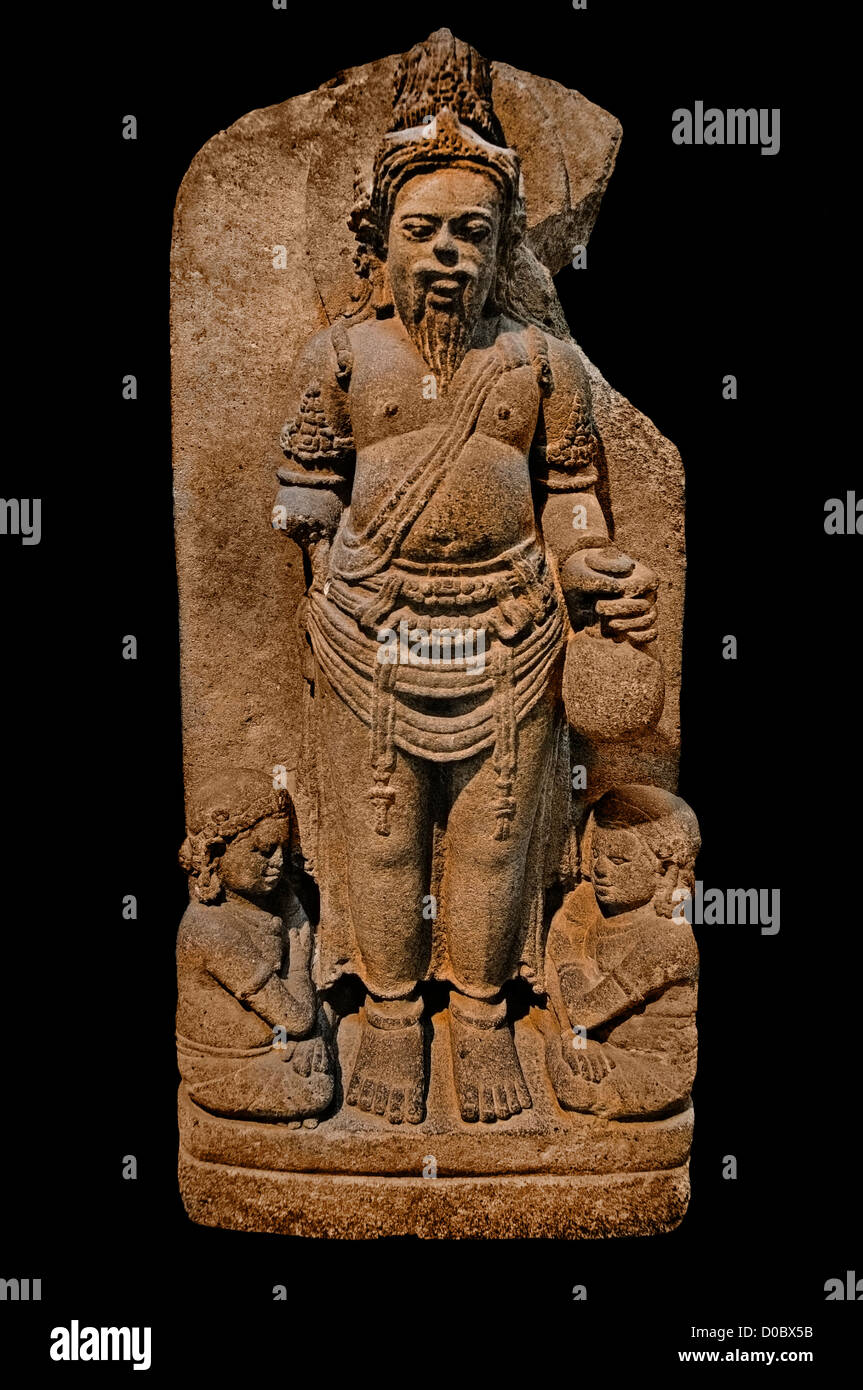 Agastya 9th-10th Century Hindu Sage Supreme Lord Siwa Mahadewa or Shiva  Guru with a beard and mustache Java Indonesia - Stock Image