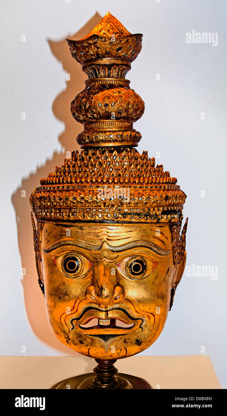 Khon Mask Golden Faced Ascetic 20th Century  National Museum Bangkok Thailand - Stock Image