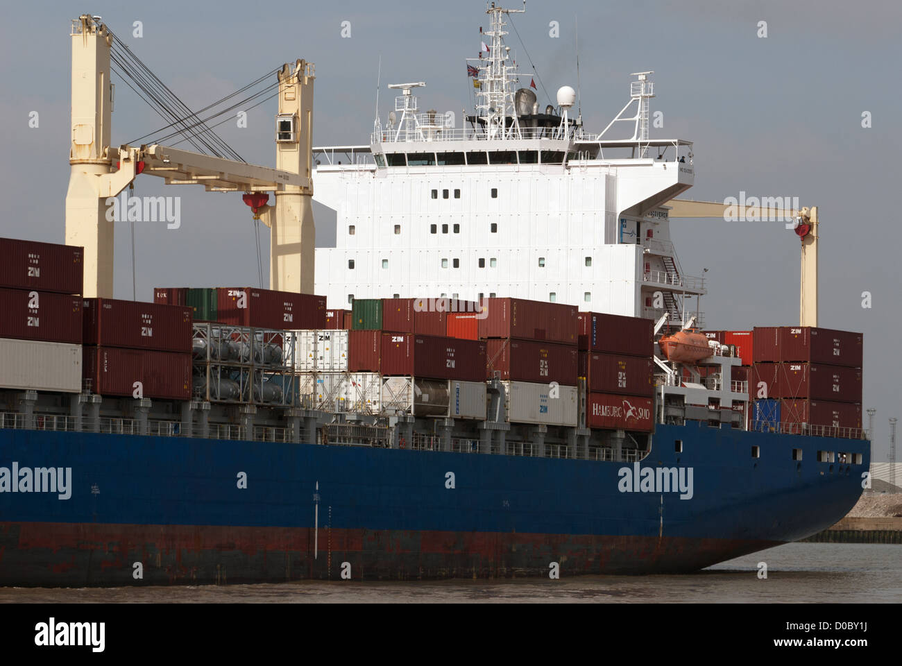 HS Discoverer container ship port of Felixstowe Suffolk UK - Stock Image