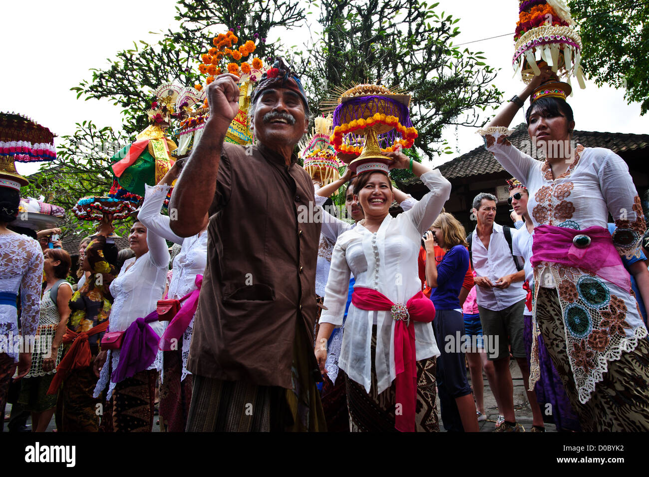 A special Hindu event, A Balinese Funeral of the royal family in Ubud. An event that gather all the clans of the - Stock Image