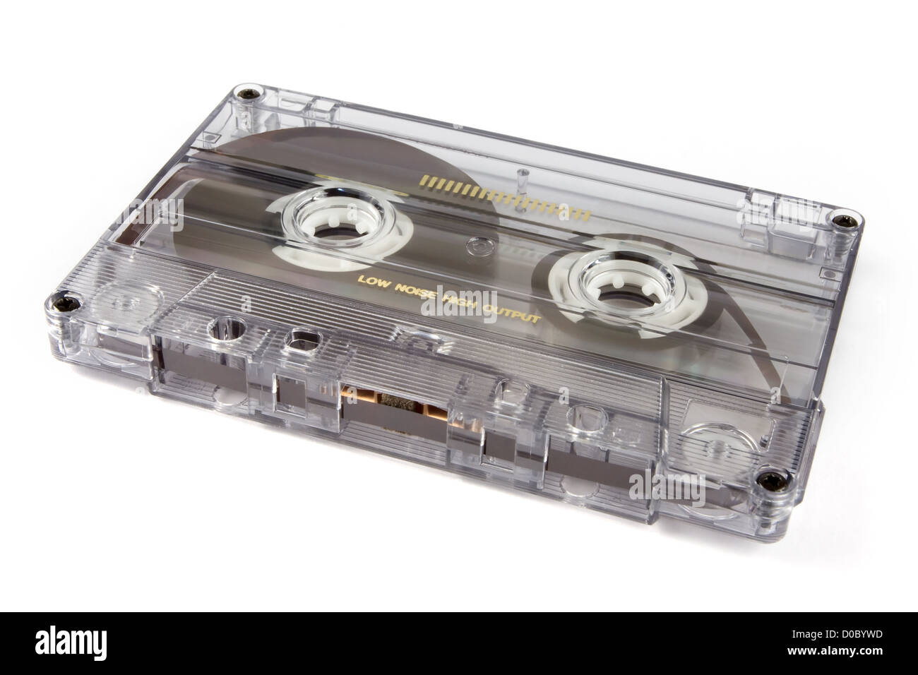 Retro cassette tape on a white background - Stock Image