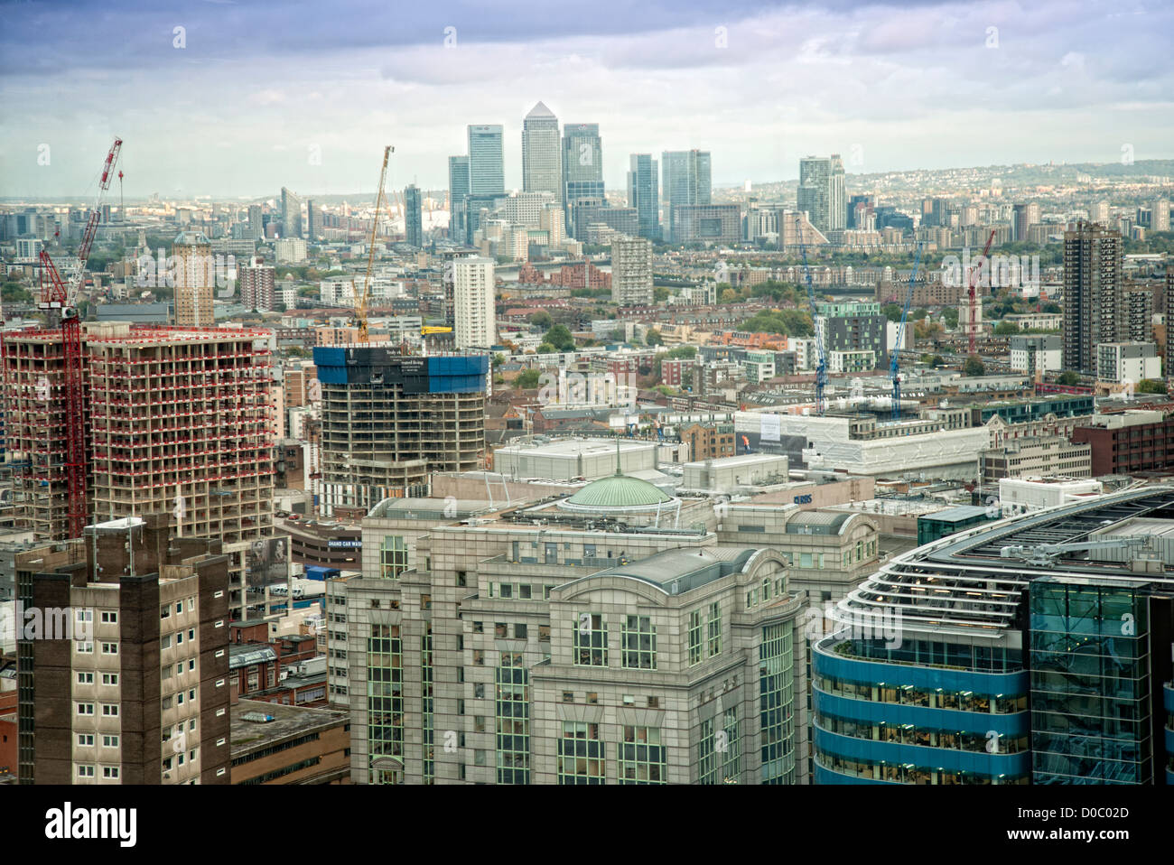 view across London to docklands - Stock Image