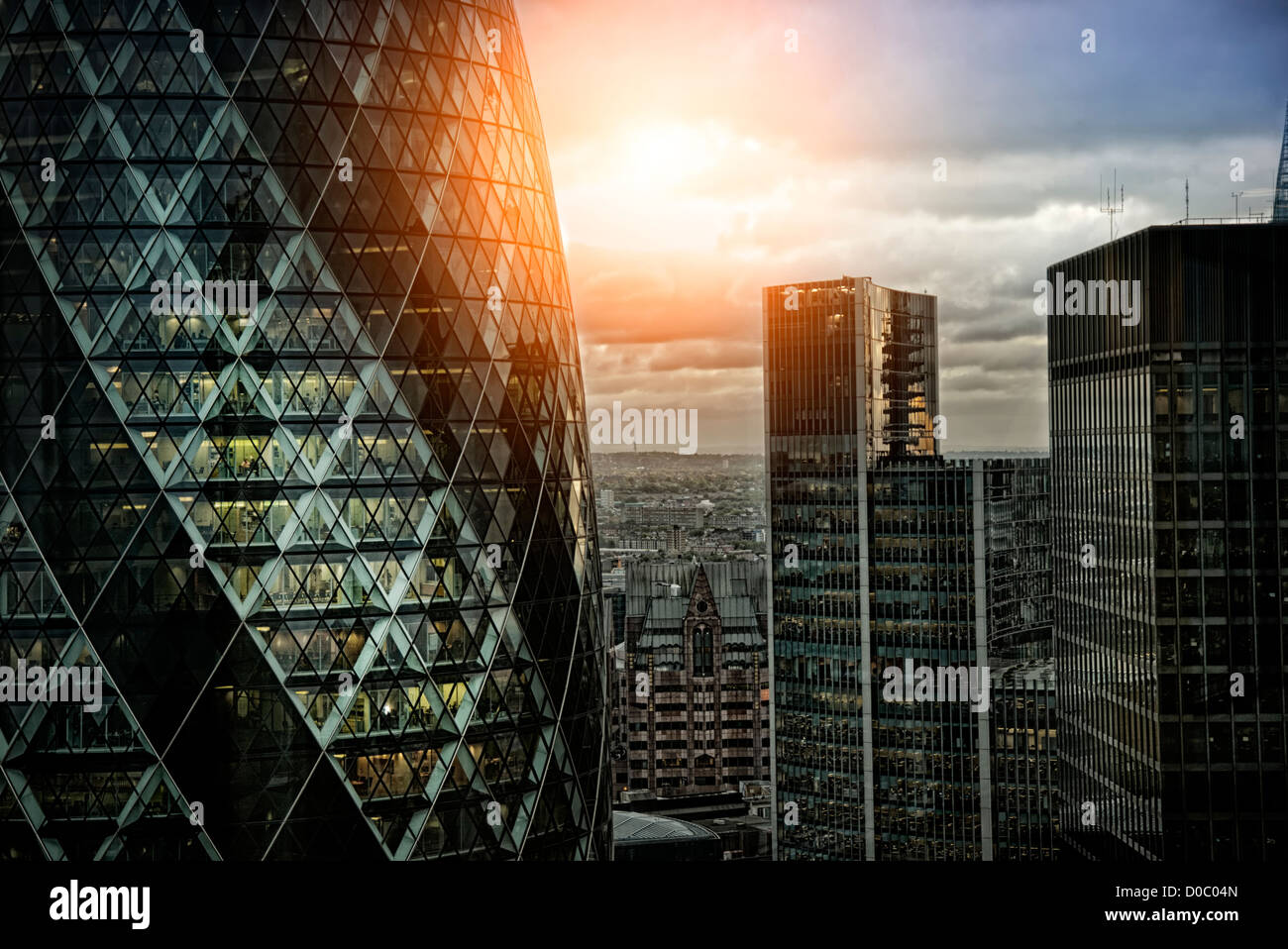 The Gherkin at sunset - Stock Image