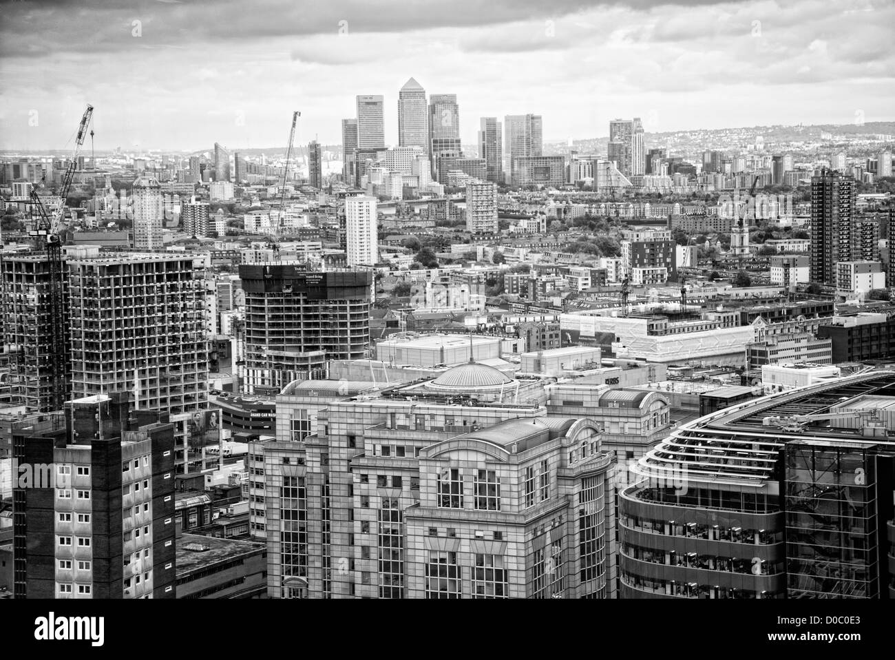 view across London to docklands black & white - Stock Image