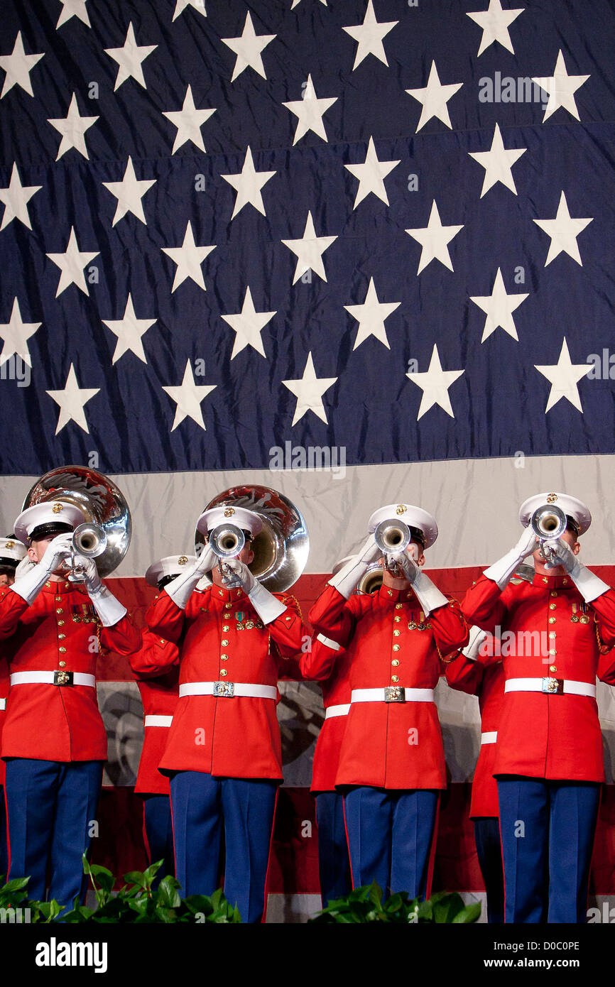 US Marine Drum & Bugle Corps buglers perform during the Semper Fidelis Society of Boston's 237th Marine - Stock Image