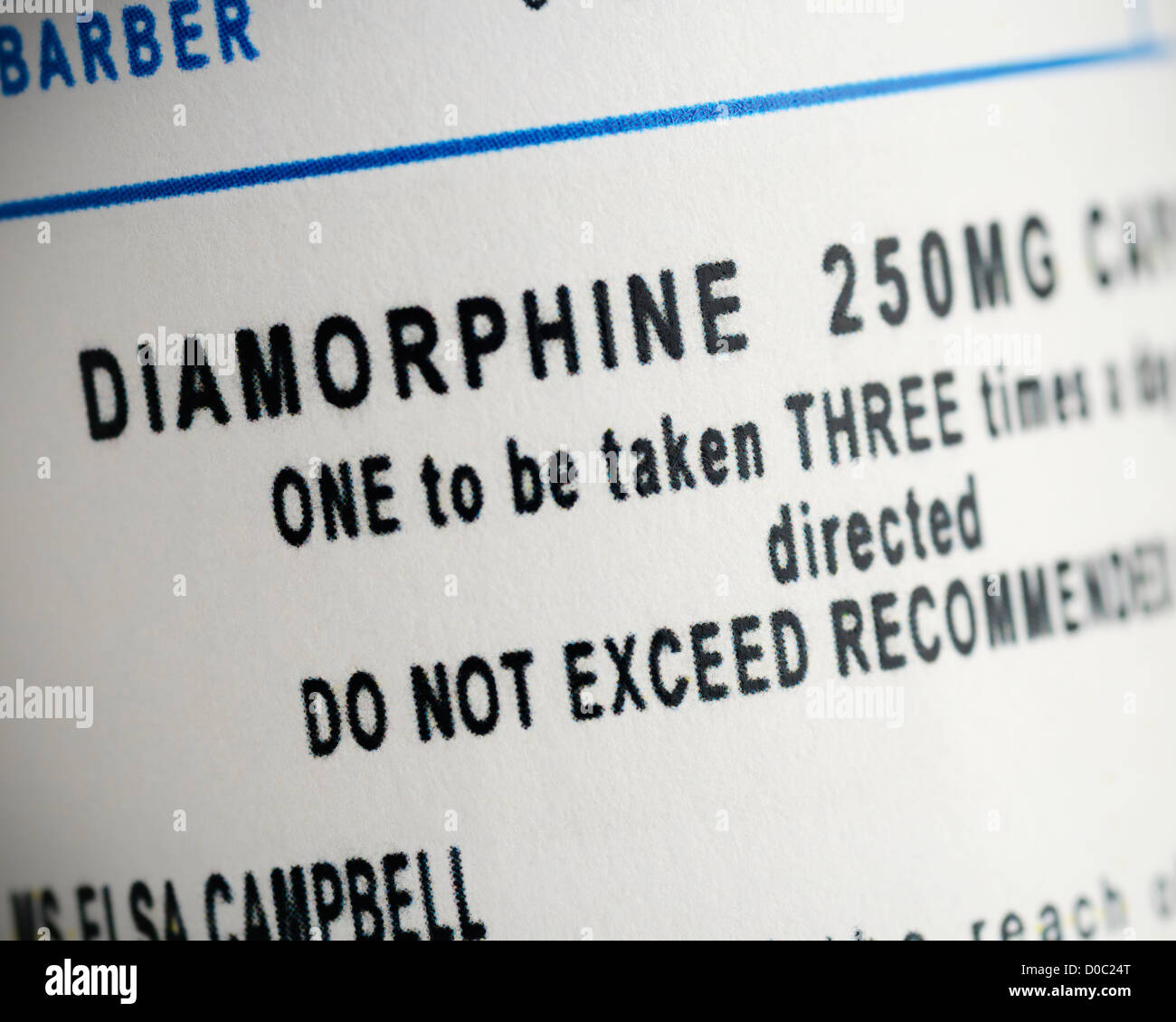 Label on a Bottle of Diamorphine Capsules. Close Up. - Stock Image