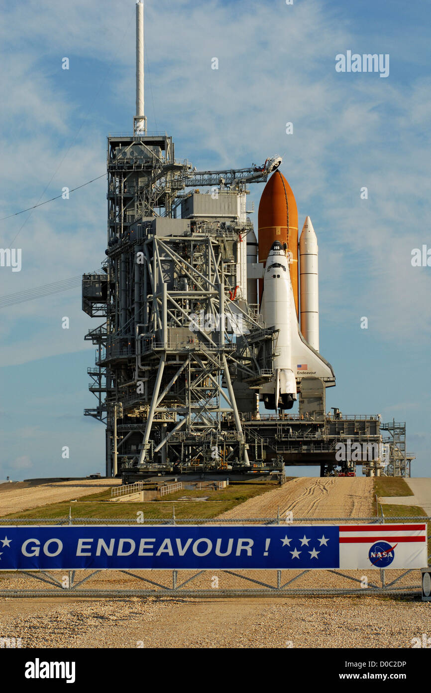 Shuttle Endeavour is poised launch STS-123 on Pad 39A March 10 2008 after Rotating Service Structure or launch tower - Stock Image