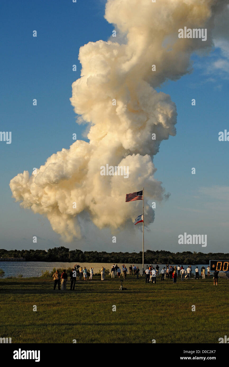 Smoke remains after the launch of Atlantis on STS-117. - Stock Image