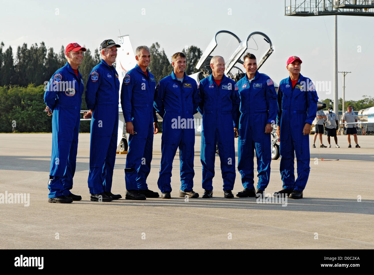 The crew STS-117 arrives Kennedy Space Center launch. right left are Commander Rick Sturckow  Pilot Lee Archambault - Stock Image