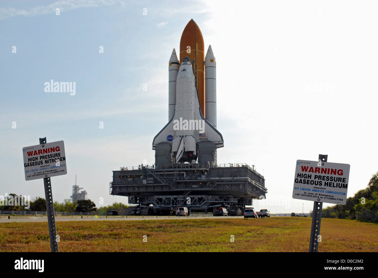 The Space Shuttle Atlantis rolls out to Pad 39A in preparation for launch on STS-117. - Stock Image