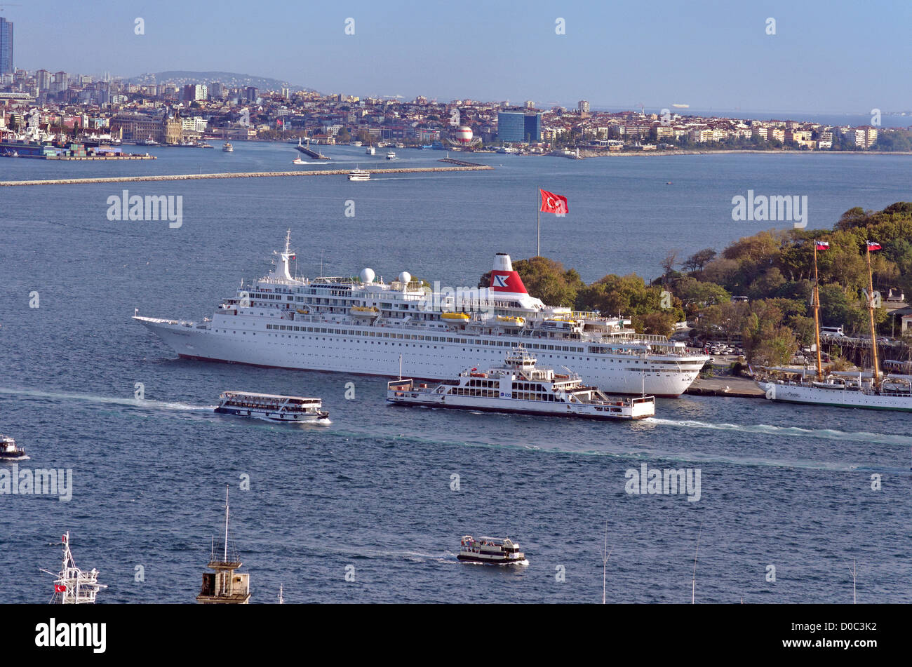 The Bosphorus at Istanbul with Fred Olsen Line's 'Black Watch' berthed at the Cruise dock adjacent to - Stock Image