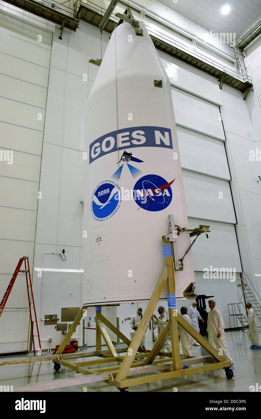 The Delta IV payload cover or fairing that will protect GOES-N (Geostationary Operational Environmental Satellite) - Stock Image