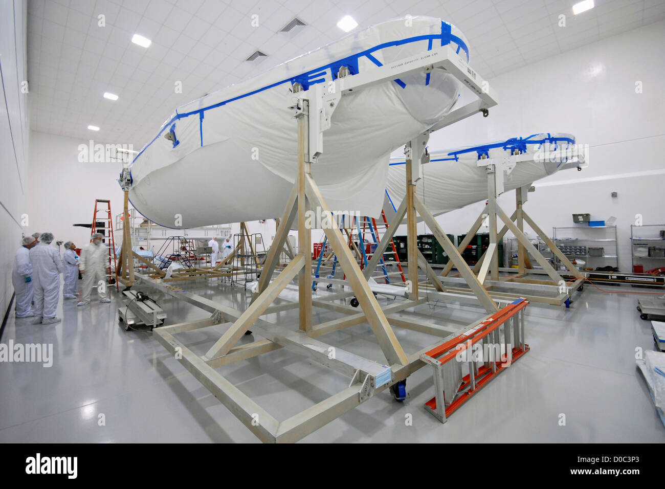 The Delta IV payload fairing (or cover) that will protect GOES-O (Geostationary Operational Environmental Satellite) - Stock Image