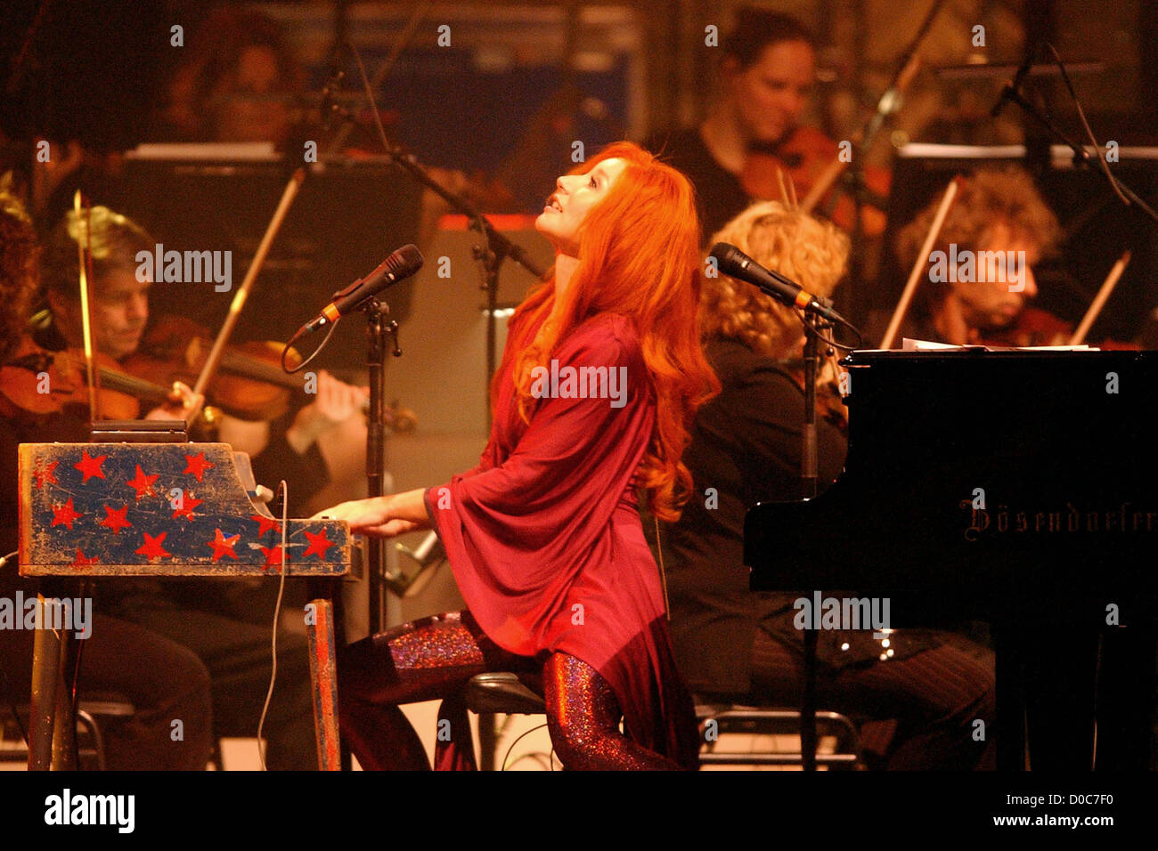 Tori Amos performs during her sold out concert with the Metrople Orchestra at the Heineken Music Hall Amsterdam, Stock Photo