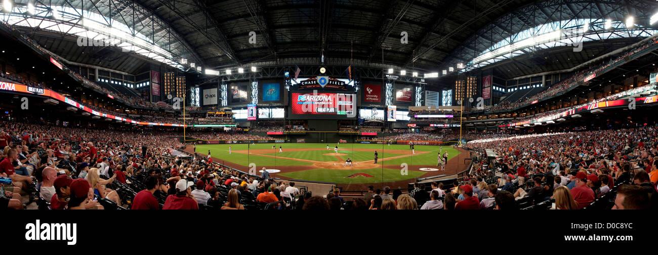 Panorama of Chase Field, Phoenix, Arizona, with the retractable roof closed. Home of baseball's Arizona Diamondbacks. - Stock Image
