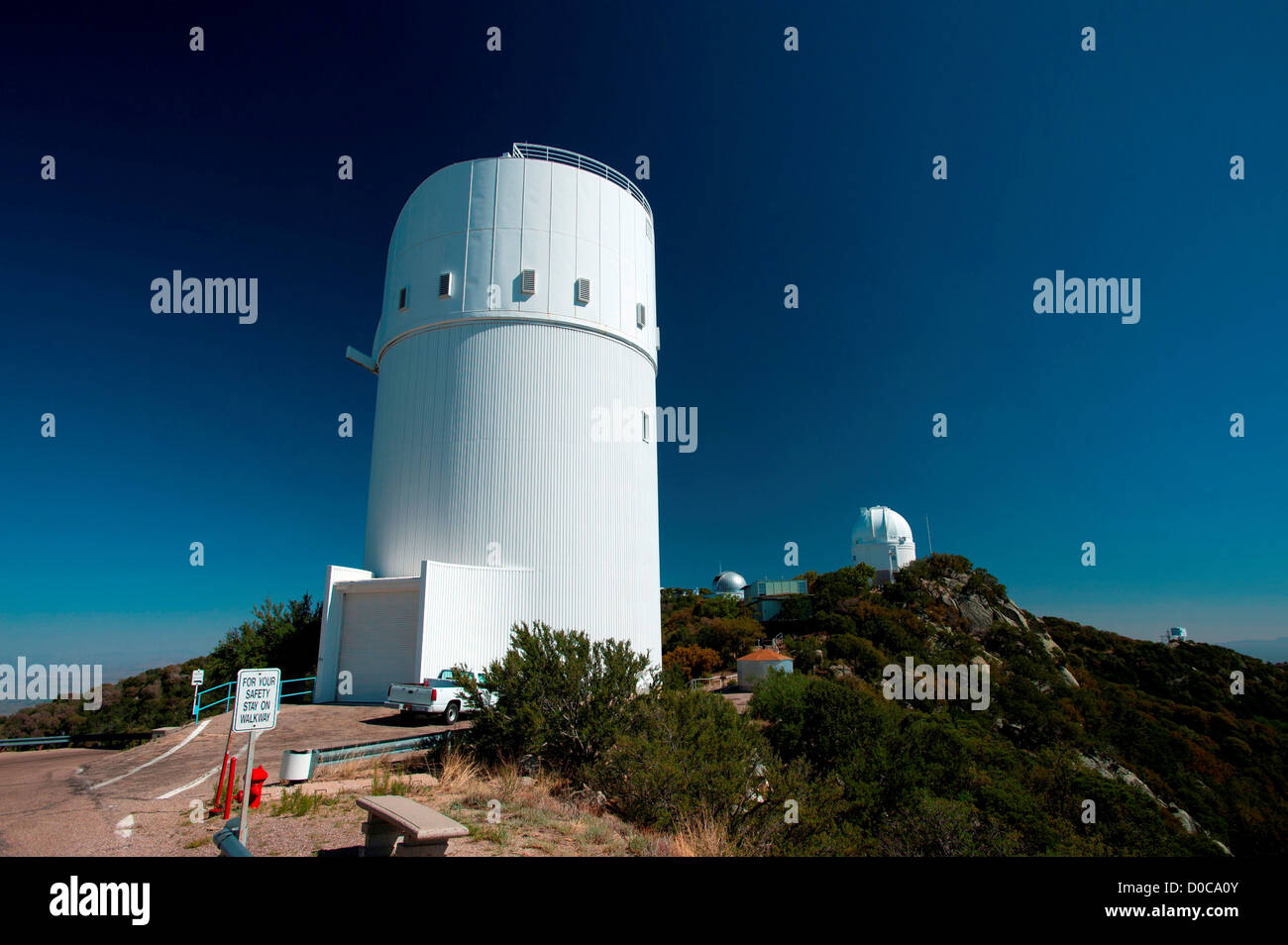 The 2.3-meter Bok Reflector telescope dome is seen at Kitt Peak National Observatory, Arizona - Stock Image