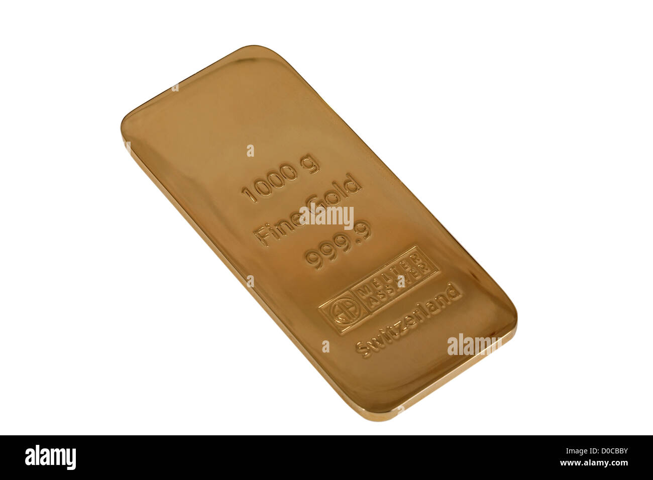 Ingot of gold in weight of 1000 gramme. Isolated on a white background. - Stock Image