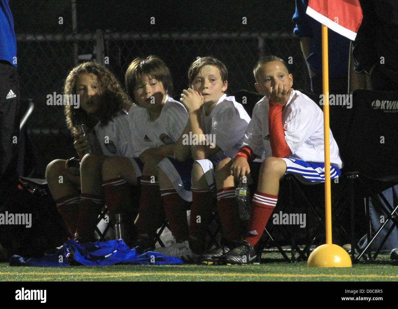 Brooklyn Beckham sits on the sidelines during his football match Los Angeles, California - 09.10.10 - Stock Image