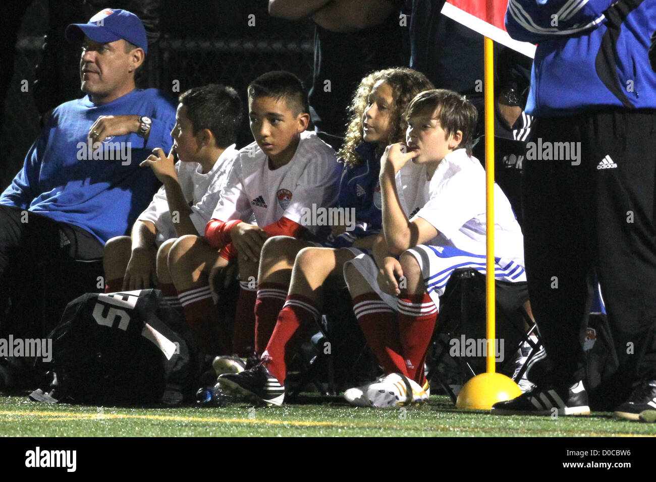 Brooklyn Beckham sits on the sidelines during his football match Los Angeles, California - Stock Image